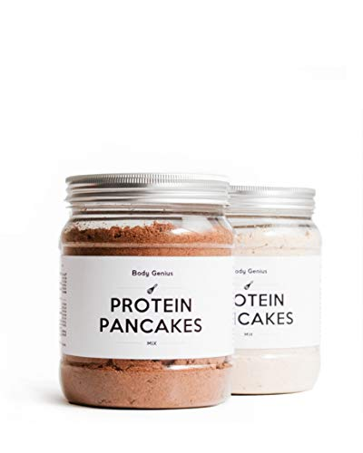 BODY GENIUS Dúo Protein Pancakes (Clásicos y Chocolate). 2x400g. Tortitas Proteicas Sin Azúcar Añadido. Con Proteína Whey Isolate y Harina de Avena. Hecho en España