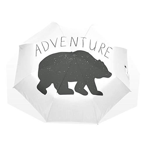 LASINSU Regenschirm,Schwarzes Schattenbild des Wilden Bärn Zoo Tier Natur Leidenschafts Hippie Entwurfs,Faltbar Kompakt Sonnenschirm UV-Schutz Winddicht Regenschirm
