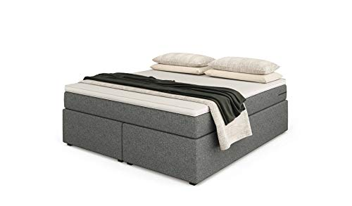 Betten Jumbo Headless King Boxspringbett | Hellgrau | 140x200 | Härtegrad weich | inkl. Visco-Topper