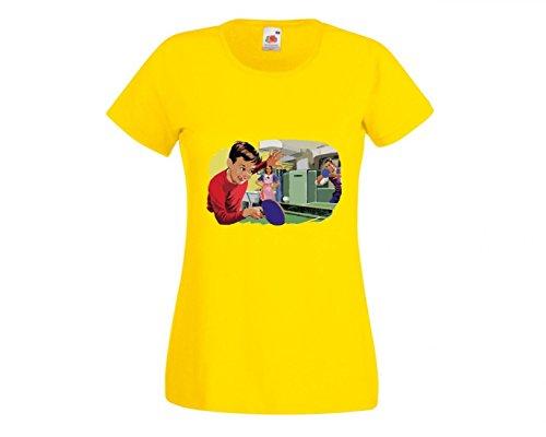 Druckerlebnis24 Camiseta Retro para el año, Familia, Mesa, Tenis, Juego, niño, Madre, Padre, Cocina, Estilo Antiguo, clásica, para Hombre, Mujer, niños, 104 – 5 XL Amarillo M