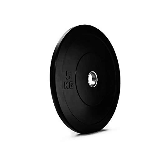 5kg Olympic Bumper Weights Plates (pair) finished in smooth black high-density rubber ensuring robustness and durability – available weights 5kg 10kg 15kg 20kg and 25kg sold separately