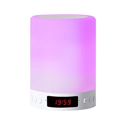 Lámpara de altavoz Bluetooth, luz nocturna LED inteligente con reloj despertador radio FM, lámpara de mesa junto a la lámpara de mesa, interruptor de luz nocturna con 3 modos de intensidad táctil y 7