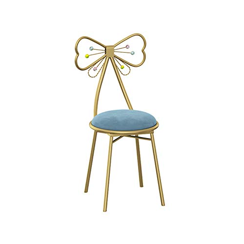 Tuqia Silla Decorativa De Metal para Sala De Estar, Tocador En El Guardarropa Silla De Cafetería Silla De Bar Ligera Silla De Maquillaje para Niña(Size:34 * 34 * 80CM,Color:5)
