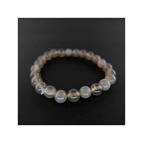 Pulsera de Agata Gris Bola Lisa 6mm Minerales y Cristales, Belleza energética, Meditacion, Amuletos Espirituales