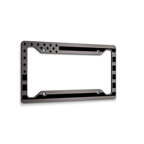 JASS GRAPHIX American Flag License Plate Frame Matte Black on Brushed Aluminum Composite