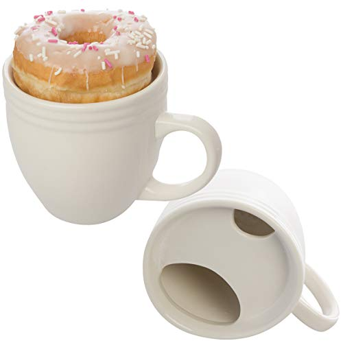 Best. Morning. Ever. Donut warming coffee cups with handle and pastry holder; Thermal coffee cup with lid cover - Built in plate retains heat, acts as a warming tray and keeps pastry fresh and beverages warm longer; Reusable coffee mug insulates, gua...