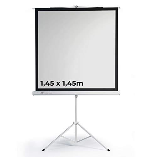 Phoenix Technologies - Pantalla de Proyección con Trípode Portátil Manual Formato 1:1 Altura Ajustable (1,45x1,45m)