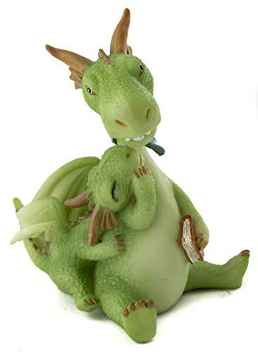 UNAMY ST Miniature Dollhouse Fairy Garden   Mama Dragon with Mini Dragon & Book   Yard, Garden, Ornaments, Statues by UNAMY ST