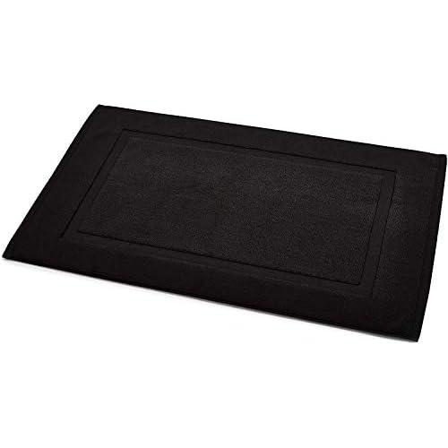 Amazon Basics - Tappetino per il bagno, con fascia decorativa, colore: nero
