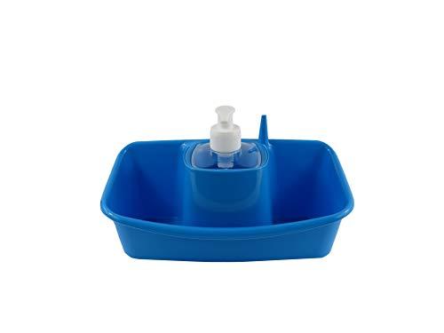 B&F Estropajero Doble con Dispensador de Jabón Incorporado/Organizador De Utensilio De Fregado y Recipiente Doble para Estropajo 13x26x17cm (Azul)