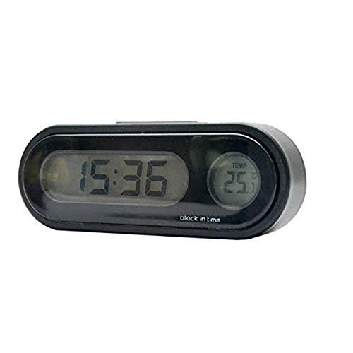 MASO - Reloj de temperatura universal para salpicadero de coche, con luz negra y pantalla LCD ajustable, medidor de temperatura del vehículo, compatible con modos de transformación 12h/24h