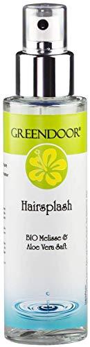 Greendoor Hairsplash 100ml Feuchtigkeitsspray Haare vegan, Hydro Spray Bio Melisse und Aloe Vera, Fönschutz, ohne Silikone, natürlich ohne Tierversuche, Naturkosmetik, Haar Conditioner