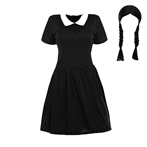 Disfraz De Cosplay De MiéRcoles Addams para Mujer De Halloween Vestido De Patinadora con Cuello De Peter Pan Vestido De Manga Larga con Llamarada Vestido De Uniforme Escolar Conjunto Completo.