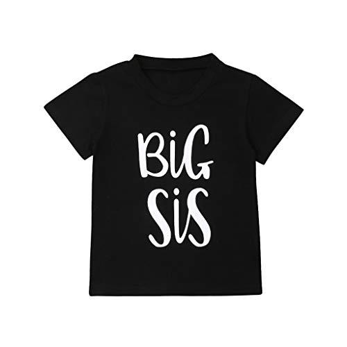 wuayi T-Shirt Bébé Fille Big Sis à Manches Courtes Tops Shirt 6 Mois - 6 Ans