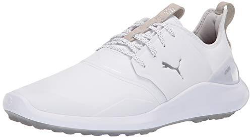 Puma Golf Men's Ignite Nxt Pro Golf Shoe, Puma White-Puma Silver-Gray Violet, 9.5 M US