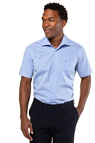 JP 1880 Herren L-8XL bis 8XL, Kurzarm Businesshemd aus Reiner Baumwolle, mit Brusttasche, Variokragen & Comfort Fit blau 7XL 705178 71-7XL