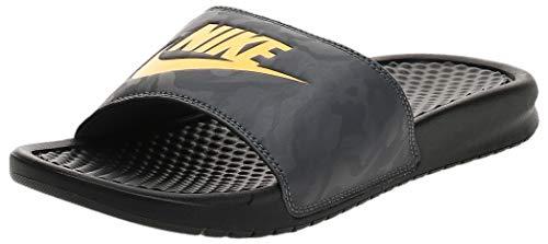 Nike Benassi Just Do It, Sandalia Hombre, Black Laser Orange Iron Grey, 44 EU
