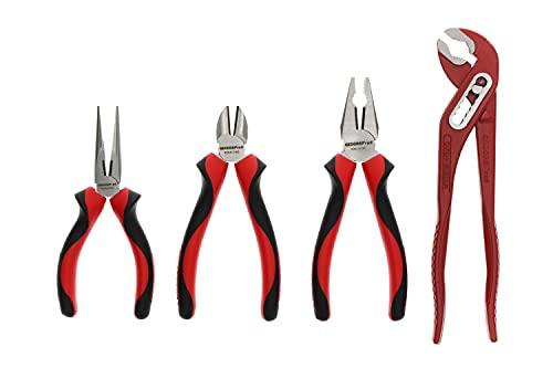GEDORE red Zangen-Satz, Werkzeug-Set mit Kombizange/Wasserpumpenzange/Flachrundzange/Seitenschneider, R22150018