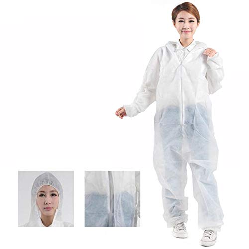 10St Beschermende Kleding Kan Voor Eenmalig, Pp Materiaal Samengevoegde Beschermende Kleding Met Hoed, Effectief Tegen Bacteriën En Stof,XXXL
