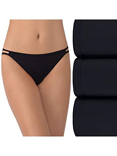 Vanity Fair Women's Illumination String Bikini Panties (Regular & Plus Size), 3 Pack - Midnight Black, 7
