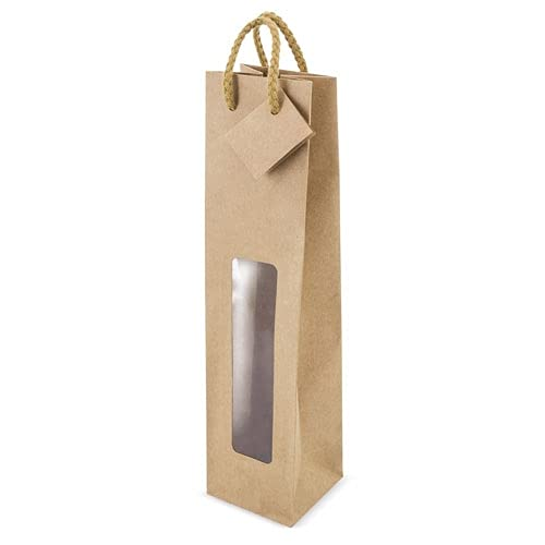 Lote Bolsas para Botellas de Vino. Bolsas Regalo Vino. Bolsa con Ventana y Etiqueta. Cordon grueso. Embalaje Kraft Vino (38 x 9 cm) (50)
