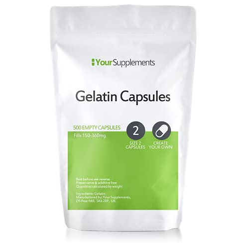 """Your Supplements - Cápsulas de gelatina, Vacías, Tamaño\""""2\"""", 500 Piezas"""