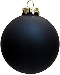 Home Event Party Ornaments Christmas Xmas Tree Glass Decoration 80mm Navy Ball Ornament -Matte, 5/Pack