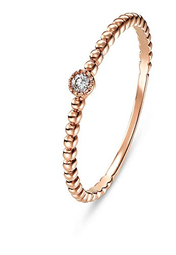 CHRIST Diamonds Damen-Damenring 1 Diamant 52 Roségold 32000339