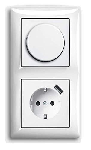 EBROM® complete set universele LED-dimmer + Busch Jäger Balance Si alpinewit combi met USB-stopcontact 1722-914 2115-914 20 EUCBUSB-914 inbouw faseafsnijding LED 3-150 Watt & meer