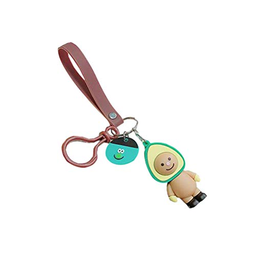 1 STÜCK Avocado Boutique Puppe Schlüsselbund Nette Schlüsselanhänger Tasche Zubehör Anhänger (Kaffee Avocado + Kaffee Seil + Kaffee Schnalle)