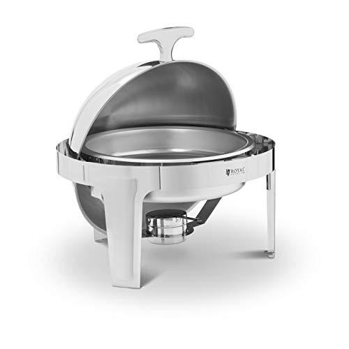 Royal Catering Chafing Dish Réchaud Professionnel Bain-Marie Buffet RCDB-6R (6 l, 1 Bac À Aliments, 1 Brûleur, Forme Semi-Sphérique, Inox)