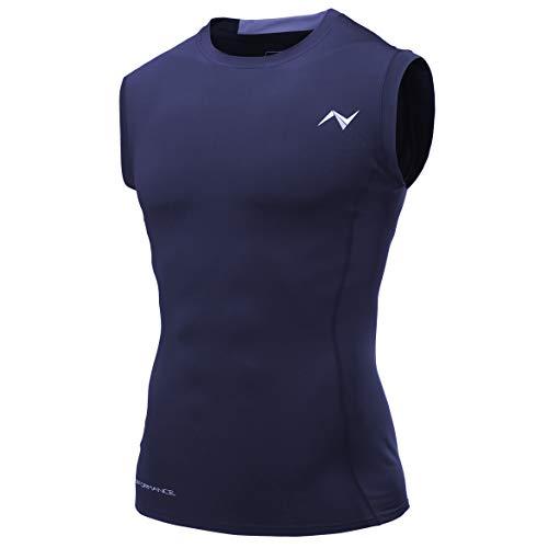 Nooz - Herren Cool Dry Sleeveless Compression Tank Top Shirt - Blau - Mittel