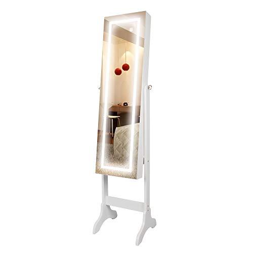 Ezigoo - Spiegel Schmuckschrank beleuchtet mit Touchscreen LED Licht - Schmuckregal mit Ganzkörperspiegel