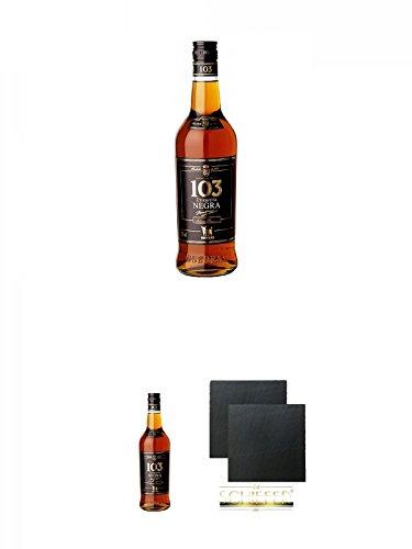 Osborne 103 Etiqueta Negra spanischer Brandy 0,7 Liter + Osborne 103 Etiqueta Negra spanischer Brandy 0,7 Liter + Schiefer Glasuntersetzer eckig ca. 9,5 cm Ø 2 Stück