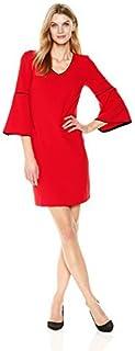 Sandra Darren womens 1 Pc 3/4 Bell Sleeve Crepe V-neck Sheath Dress Business Casual Dress
