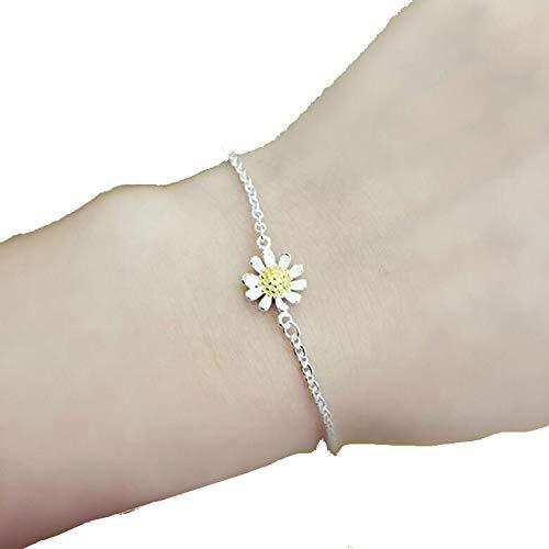 Buy and buy at Brandon 925 Sterling Silver Bracelet Small Daisy Sun Flower Sunflower Flower Bracelet Fresh Summer Bracelet AnkletyellowA
