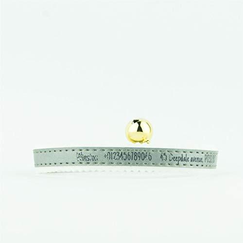 National Engraver Cat Collare Elastico Personalizzato Gattino ID Riflettente Ancol Feltro inciso sul Retro inciso - Argento
