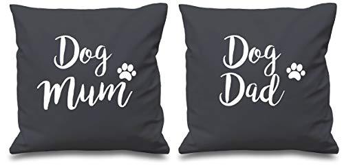 Housses de coussin grises avec inscription Dog Mum Dog Dad 40,6 x 40,6 cm