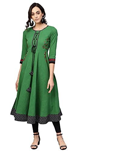 Akiko Women's Cotton Slub Embroidered Anarkali Kurta (Green)
