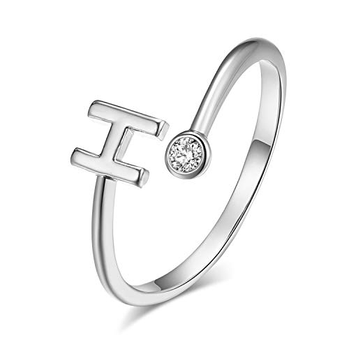 Adjustable Cubic Zircon Initial Rings Silver Letter Ring for Women Teen Girls(H)