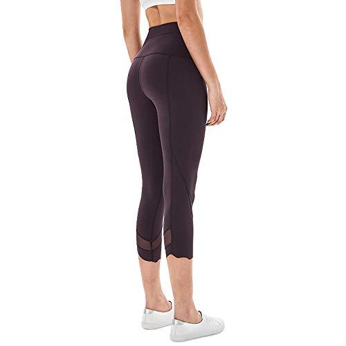 B/H Pantalon Bouffant pour Sport Jogging Danse,Pantalon Court de Yoga ajusté Taille Haute pour Femme, Pantalon de Yoga de Levage de Hanche pêche-Sauce Purple_L