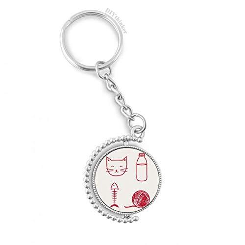 DIYthinker Katze-Fisch-Wolle-Kugel-Flasche Drehbare Schlüsselanhänger Ringe 1.2 Zoll x 3.5 Zoll Mehrfarbig