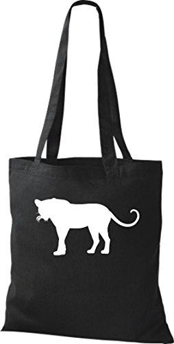 Stoffbeutel; Tiermotiv Raubkatze, Puma, Leopard,Tiger, Jaguar, Panther, Löwe; Farbe Schwarz