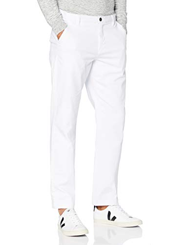 Marchio Amazon - MERAKI Pantaloni Regular Fit in Cotone Uomo, Bianco (bianco), 40W / 32L, Label: 40W / 32L