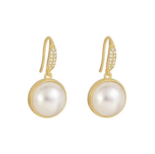 Yhhzw Pendientes Colgantes Redondos De Perlas Vintage Para Mujer, Accesorios De Oreja De Estilo De Doble Cara, Joyería Femenina Simple
