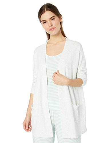 Amazon Essentials Women's Relaxed Fit Lightweight Lounge Terry Open-Front Cardigan , -white/grey heather, Large