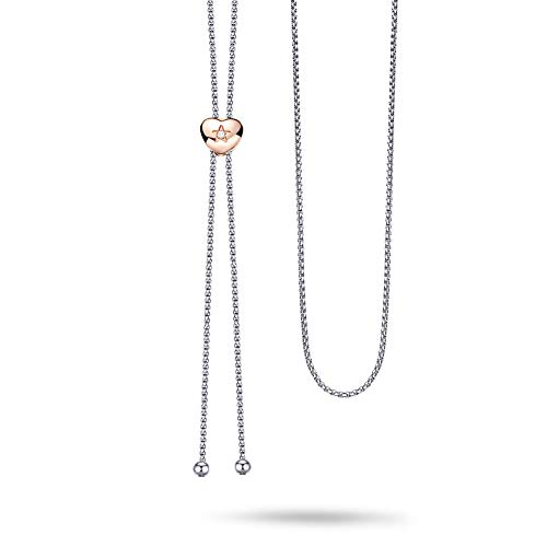 VOJO CZ Long Necklace Two Tone Rose Gold Heart Charm Tassel Necklace Adjustable Sweater Chain for Women 41 Inches (Love)