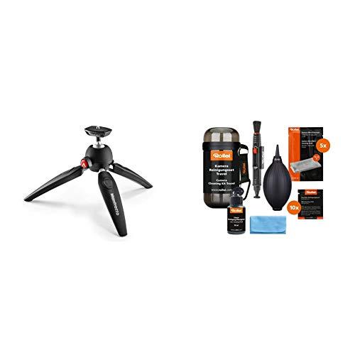 Manfrotto PIXI EVO Mini Stativ 2 Segment fur Einsteiger DSLR Kameras und Gerate bis 25 kg schwarz Rollei Kamera Reinigungsset Travel Set zur Linsen und Objektivreinigung schwarz