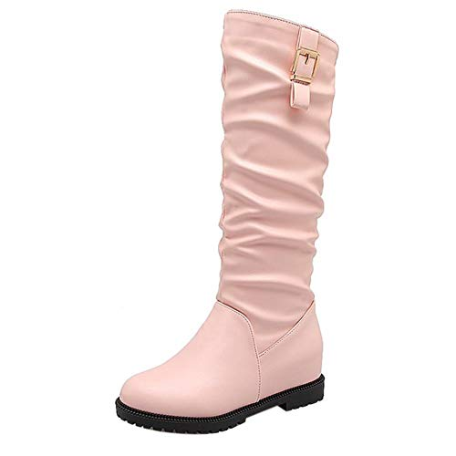 Zanpa Femmes Casual Knee High Boots Talons bas Slouch Boots Pull On School Shoes Boots Pink Taille 36