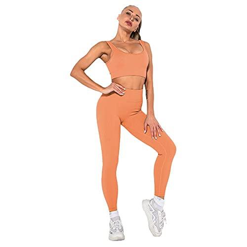 Damaibestcss Polainas de control de barriga elásticas suaves, traje de yoga de manga corta, sin costuras de punto sexy pantalones de chaleco deportivo femenino-naranja B_L